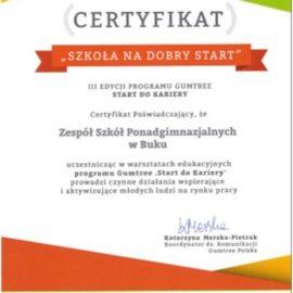 """Certyfikat dla """"Szkoły na dobry start"""""""