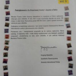 Podziękowania dla szkoły za organizację Maratonu Listów 2017